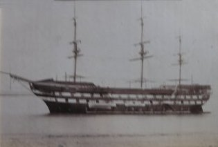 H.M.S. Worcester on which Barclay Henry served as a Cadet
