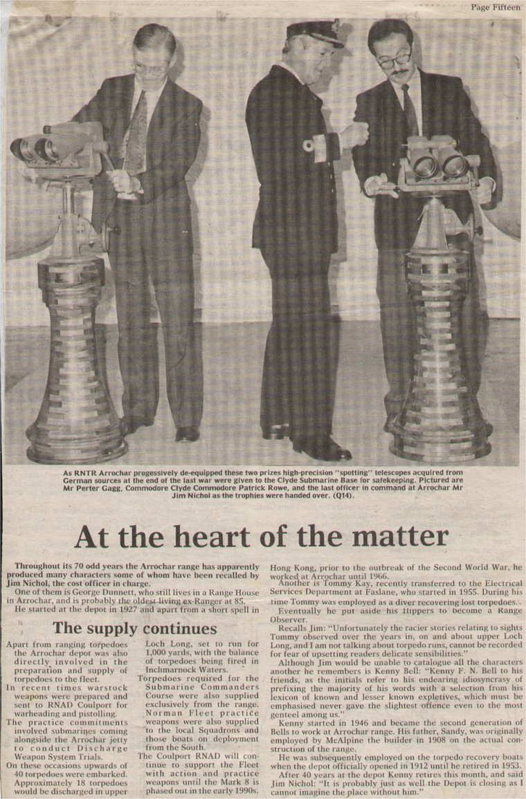 Newspaper article about de-equiping the Range prior to it's closure