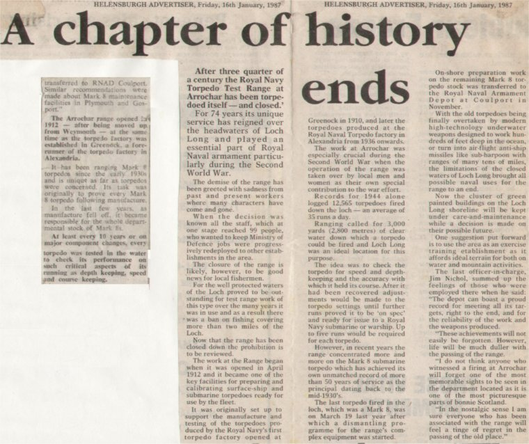 Article from the Helensburgh Advertiser 16th January 1987