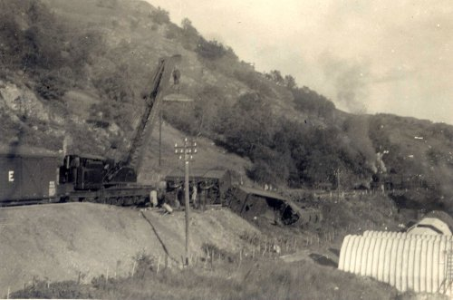 train derailment at the Loch Sloy Hydro Electric Scheme during it's construction